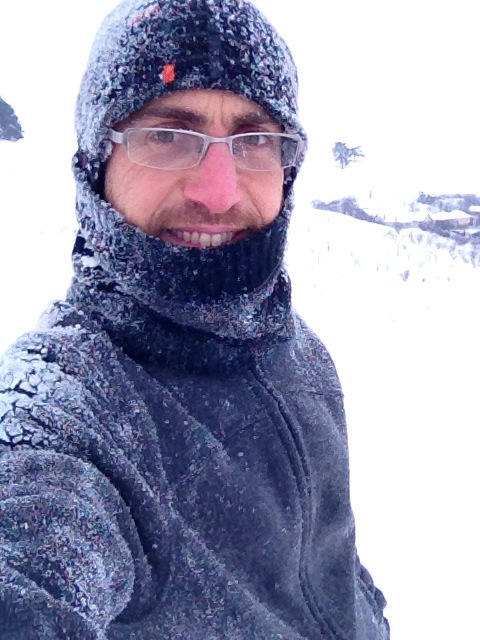 Eyal covered in snow, Romania 2015